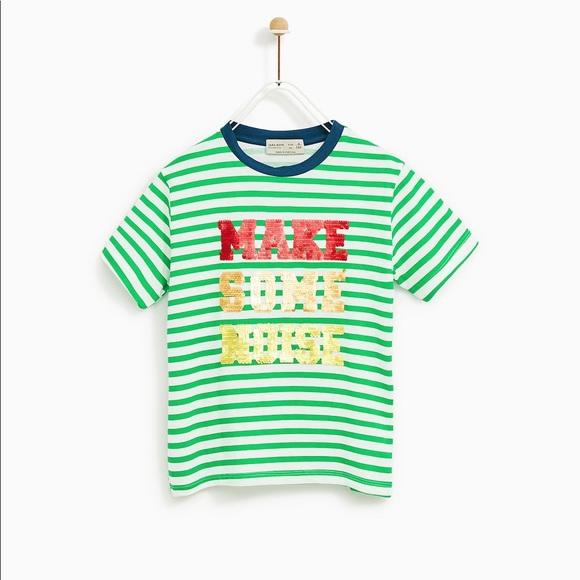 c485bdfed Zara Shirts & Tops   Boys Reversible Sequin Tshirt   Poshmark